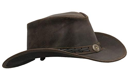 Walker and Hawkes - Leather Cowhide Outback Antique Hat - Dark Brown - M (58cm)