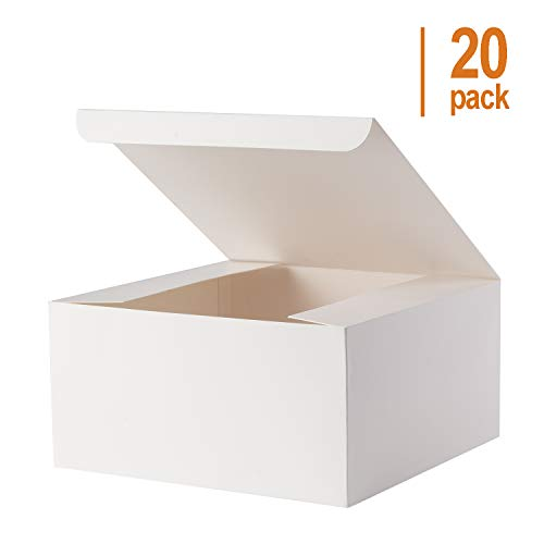 Giftol Gift Box 20 Pack 8 x 8 x 4 inches Fold Box Paper Gift Box Bridesmaids Proposal Box for Bridal Birthday Party Christmas(White)