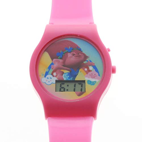 KidPlay Products DreamWorks Trolls Girls LCD Wrist Watch Digital Style Adjustable Strap - Pink