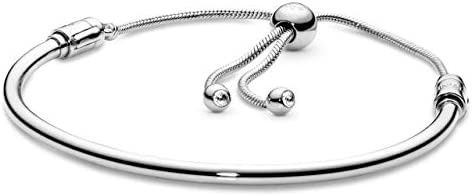 Pandora Jewelry - Pandora Moments Slider Bangle Bracelet for Women in Sterling Silver with Clear Cubic Zirconia