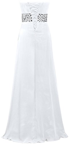 Fourmis Sweetheart Femmes Longues Robes Du Soir En Mousseline De Soie Perles Robes De Bal Blanc