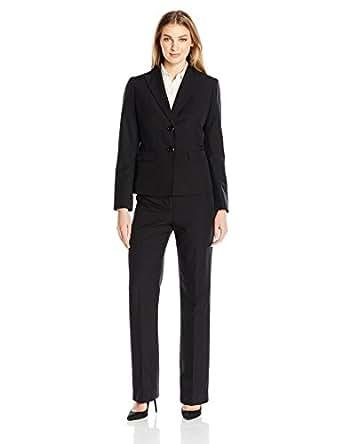 Le Suit Women's 2 Button Pant Suit, Black, 4