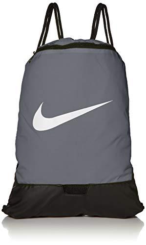 Nike Brasilia Training Gymsack, Drawstring Backpack with Zipper Pocket and Reinforced Bottom, Flint Grey/Flint Grey/White