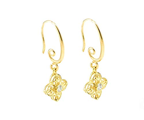 22K Gold Plated Silver Flower Earrings for Women, Dangle Celtic Earrings Set with a Clear CZ, April Birthstones Jewelry for Her. ()