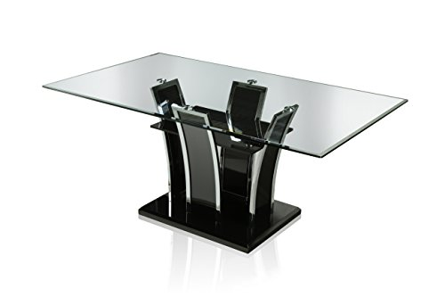 Furniture of America Priscilla Rectangular Tempered Glass Top Dining Table, High Gloss Base, Black
