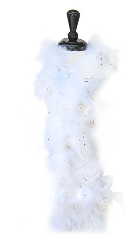 SACASUSA (TM) Feather Chandelle Boa 6 feet long for Halloween costume (White w/Silver Tinsels) -