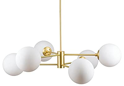 Caserti Mid Century Modern 6 Light Chandelier | Satin Brass Pendant Lighting LL-CH319-3SB