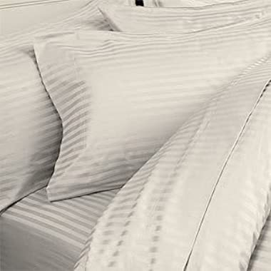 6pc 1500 Thread Count Egyptian Cotton Sheet Set with 4 PILLOW CASES, Queen, Ivory Stripe