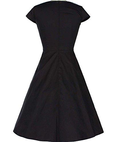 Vestido Vintage Años 50 Con Falda de Vuelo Y Cuello Con Estampado de Flores para Mujer Negro