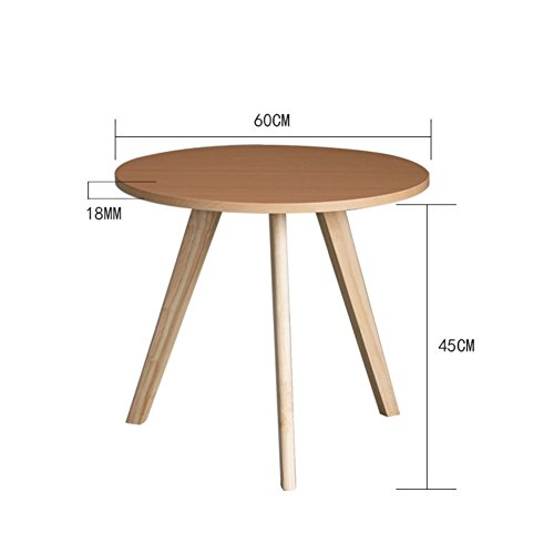 D&L Solid wood Round Side table, Waterproof Living room Sofa table Coffee table Bedroom Night table Telephone table-log 60x45cm(24x18inch)