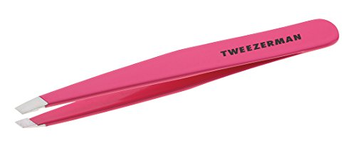 (Tweezerman Stainless Steel Slant Pink Tweezer)
