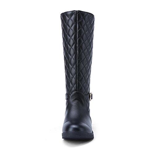 AdeeSu Ladies Square Heels Buckle Lattice Imitated Leather Boots Black It9EQ