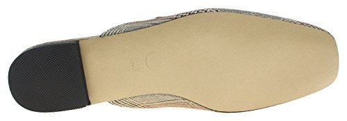 Annakastle Womens Geruite Backless Loafer Slipper Schoenen Flat Mule Geen Vacht Beige Plaid