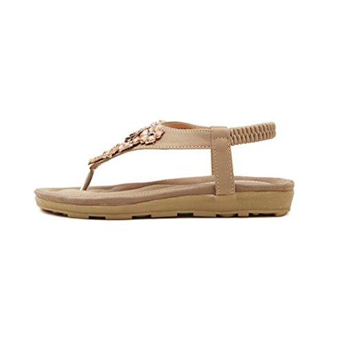 Mode Clip Bohême Abricot Sandales Plage Chaussures Plat Toe Open Cuir De Sandales Toe Tourisme Sandales Femmes Talon Sauvage Strass Tongs Cheville en Bas zBAp0