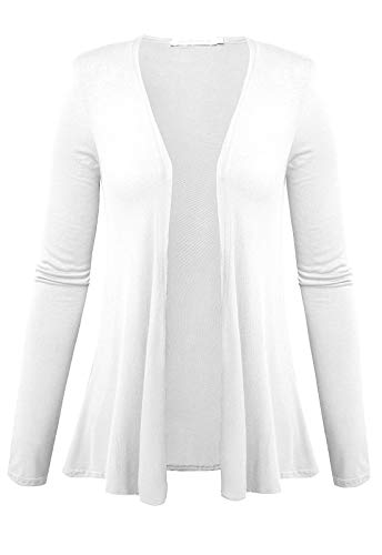 Women's Plus Size Cardigan Sweaters Open Front Drape Lightweight Long Sleeves Tops (White, 4X)
