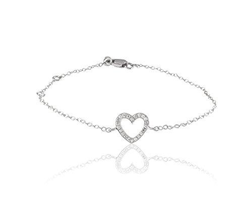 Or Blanc 9 ct Bracelet Diamant en forme de Cœur, 0.09 Ct Diamant, GH-SI, 0.29 grammes.