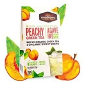 Madhava Organic Agave Five Peachy Green Tea Drink Mix, 0.85 Ounce -- 6 per case.