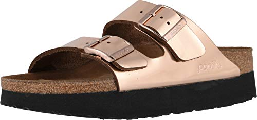 Birkenstock Women's Papillio Arizona Platform Sandal Metallic Copper Leather Size 42 N EU ()