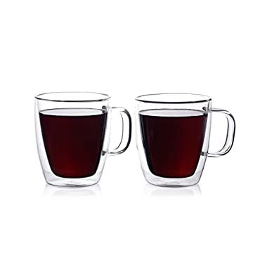 Eparé 12 oz Strong Double Wall Insulated Borosilicate Thermo Glass Mug for Coffee Tea (Set of 2)