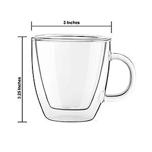 JoyJolt Savor Double Wall Insulated Glasses Espresso Mugs (Set of 2) – 5.4-Ounces