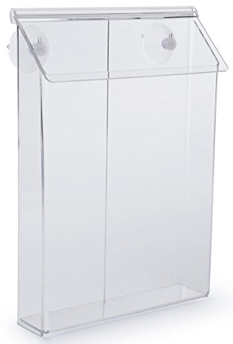 Displays2go Outdoor Magazine Holder for Flyers and Papers, Take One Box with Suction Cups (VOPD85CL) by Displays2go