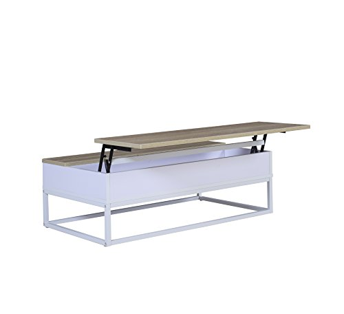 Modern and Simply Designed Lift Top Coffee Table (Brown / White) (Lift Tray Coffee Table compare prices)