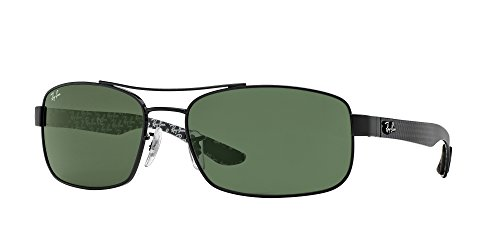 (Ray-Ban METAL UNISEX SUNGLASS - BLACK Frame CRYSTAL GREEN Lenses 62mm Non-Polarized)