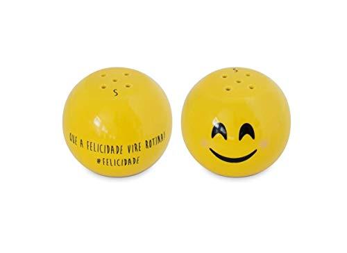 Saleiro Cerâmica 90 g Amarela Diverticon Felicidade Mondoceram - CER 371