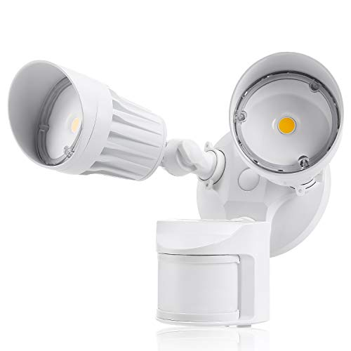 (LEONLITE 2 Head LED Outdoor Security Floodlight Motion Sensor, Newly Designed 3 Lighting Modes, ETL & DLC Listed, 1800lm, Waterproof IP65 for Yard, Deck, Porch, 5-Year Warranty, 5000K Daylight, White)