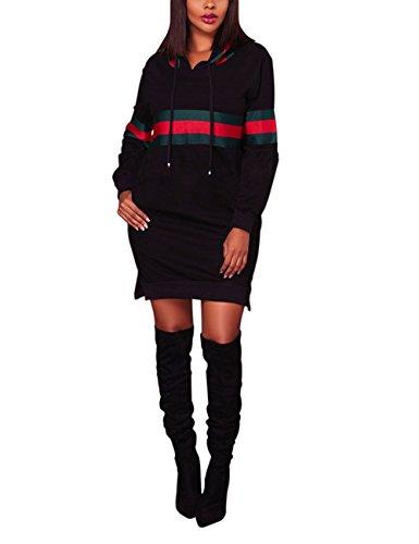 Akmipoem Women's Autumn Long Sleeve Side Slit Pocket Hoodie Dress Pullover Sweatshirts Black S