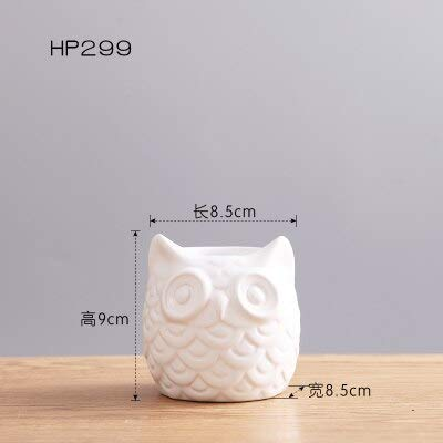 (Decorative Vases - Creative Ceramic White Owl Figurines Nordic Style Artificial Plant Flower Pot Porcelain Animal Statuette Decor Gifts - by GTIN - 1 Pcs)