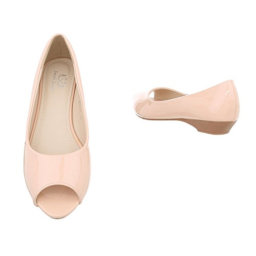 Ital-Design Peeptoes Damenschuhe Pump Moderne Pumps Hellrosa