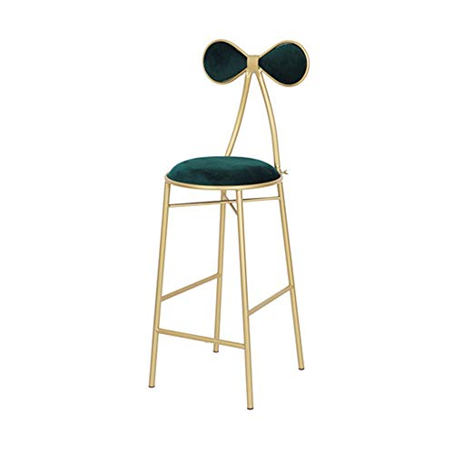 AGLZWY Bar Stools High Chair Make Up with Bow-Knot Backrest Metal Legs Velvet Modern for Kitchen Pub Home Leisure Dining Chairs Vanity Dressing Adults (Color : Green, Size : 36X44X105CM)