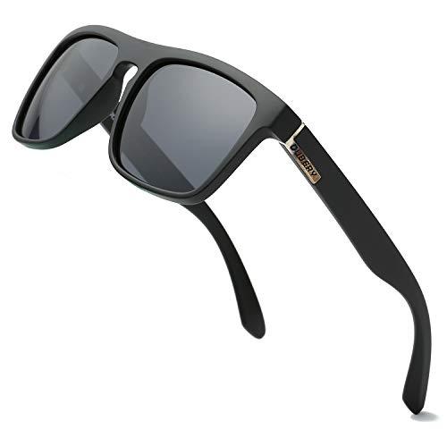 b8de43a8a536a DUBERY Polarized Sunglasses Classic 100% UV Protection Reflective Color  Mirror Large Square for Men Women Black