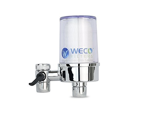 WECO TF-04 Clear Easy Faucet Mount Water Filter Removes 99.9% Chlorine Taste & Odor, Sediment, Rust Particles & Other Gritty Contamination