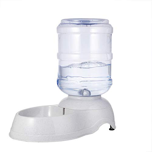 (Liry Products Pet Water Drinking Fountain Automatic Gravity Dispenser Station Self Replenish Animal Waterer Dog Cat Large Capacity Fresh Drinking System Plastic Bottle Reservoir Bowl Stand (3 Gallon))