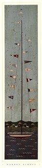 Nautical II by Warren Kimble 7x28 Art Print Poster Wall Decor Sailboat Flags Ocean Folk Country Primitive