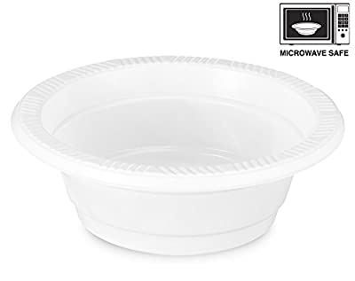 Basix 100 Count Disposable Plastic Bowls Microwave Safe 5 Ounce, White
