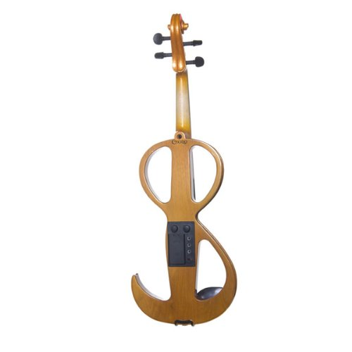 Cecilio 4/4 CEVN-3Y Violín eléctrico /silencioso de madera maciza con accesorios de ébano en Estilo 3 - Tamaño completo - Amarillo Maple Metallic