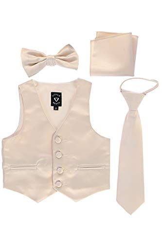Lito Childrens Wear Little Gents 738 Satin Vest w/Zipper Tie Bowtie & Hanky (Champagne, 8)