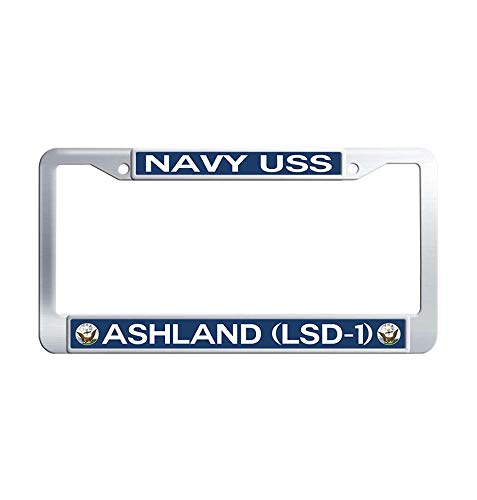 Nuoyizo USS Ashland LSD-1 Metal Car tag Frame Waterproof Stainless Steel Car tag Frame(1 pic, 12.25