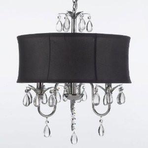 Modern contemporary black drum shade crystal ceiling chandelier modern contemporary black drum shade crystal ceiling chandelier pendant lightning fixture swag plug in keyboard keysfo Images