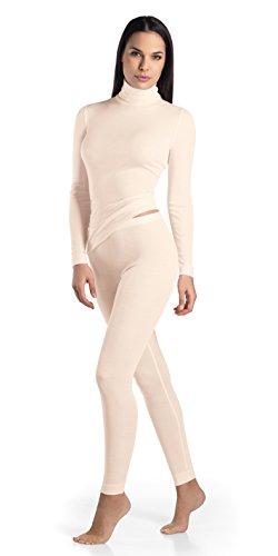 HANRO Women's Silk Cashmere Turtleneck Shirt, Vanilla, X-Small ()