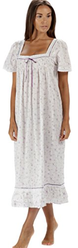 The 1 for U 100% Cotton Short Sleeve Nightgown - Evelyn (Small, Lilac Rose)