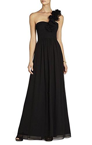 BCBGMAXAZRIA BCBG Maxazria Black Silk Chiffon Patricia One Shoulder Dress SIL6Y760
