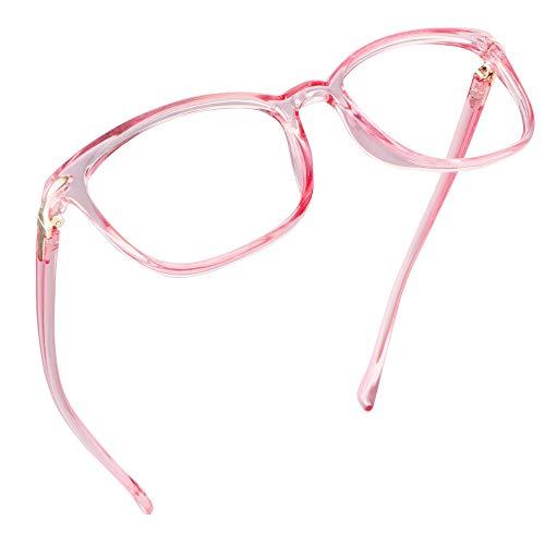 LifeArt Blue Light Blocking Glasses, Anti Eyestrain, Computer Reading Glasses, Gaming Glasses, TV Glasses for Women, Anti Glare (Clear Pink, 2.00 Magnification)