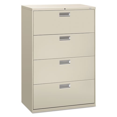 HON 684LQ 600 Series 36-Inch by 19-1/4-Inch 4-Drawer Lateral File, Light Gray by HON