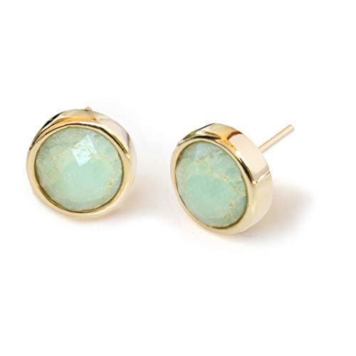 FIRE EAR STUD EARRINGS For Women | 24K Gold Round Mint Green Chrysoprase Gemstone | 3-Way Convertible | Hypoallergenic | Women Jewelry | Birthday Summer Bridesmaid gifts