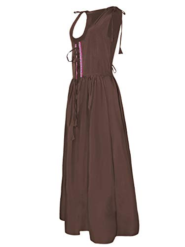 Anna-Kaci Womens Renaissance Medieval Irish Costume Inspired Long Over Dress, Brown, Small ()