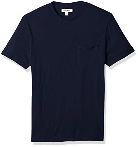 Goodthreads Men's Lightweight Slub Crewneck Pocket T-Shirt, Navy, XX-Large Dad Short Sleeve Tee